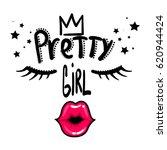 pretty girl t shirt design on... | Shutterstock .eps vector #620944424