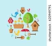 garden tools set collection... | Shutterstock .eps vector #620949791