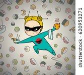 sushi hero chef of japanese... | Shutterstock .eps vector #620953271