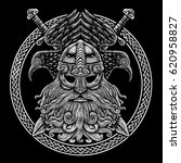 norse god odin with crows and... | Shutterstock . vector #620958827
