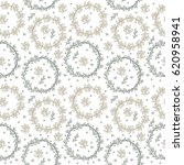 seamless pattern with wreaths.... | Shutterstock .eps vector #620958941
