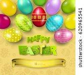 happy easter greeting... | Shutterstock .eps vector #620965541