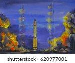 watercolor painting rocket ...   Shutterstock . vector #620977001