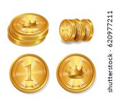 Golden Coins Set. Isolated...