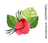 bouquet with tropical flowers.... | Shutterstock .eps vector #620994851