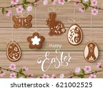 happy easter lettering ... | Shutterstock .eps vector #621002525