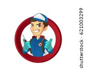 exterminator giving thumbs up... | Shutterstock .eps vector #621003299