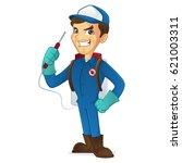 exterminator holding pest... | Shutterstock .eps vector #621003311