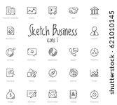 set of black sketch business... | Shutterstock .eps vector #621010145