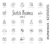 set of black sketch business... | Shutterstock .eps vector #621010151
