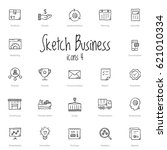 set of black sketch business... | Shutterstock .eps vector #621010334