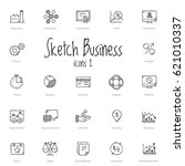 set of black sketch business... | Shutterstock .eps vector #621010337