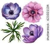 watercolor set of spring... | Shutterstock . vector #621021134