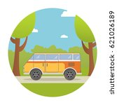 the tourist bus goes on the... | Shutterstock .eps vector #621026189