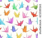 paper cranes  blue  green  red  ... | Shutterstock .eps vector #621030161
