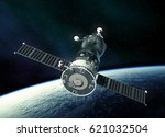 spacecraft in outer space. 3d... | Shutterstock . vector #621032504