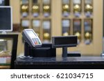 cash desk with card payment... | Shutterstock . vector #621034715