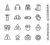 work safety. line icon set. | Shutterstock .eps vector #621038459