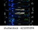 network servers in data room... | Shutterstock . vector #621055394