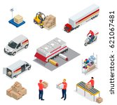 isometric logistics icons set... | Shutterstock .eps vector #621067481