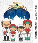 eid mubarak greeting and cute... | Shutterstock .eps vector #621074531
