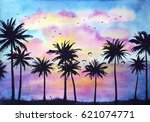 Watercolor Dramatic Tropical...