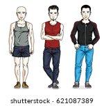 handsome young men posing in... | Shutterstock .eps vector #621087389