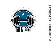 logotype for heavyweight gym or ... | Shutterstock .eps vector #621088265