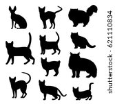 Stock vector cats silhouette set 621110834