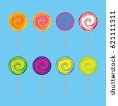 a set of swirley lollipops in... | Shutterstock .eps vector #621111311