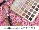 colorful make up eye shadow and ... | Shutterstock . vector #621115751