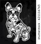 vintage style beautiful bulldog ... | Shutterstock .eps vector #621116765