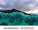 Small photo of Translucent and agitated lagoon of Moorea (French Polynesia)