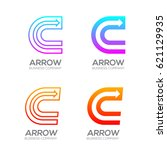 letter c with arrow  finance ... | Shutterstock .eps vector #621129935