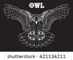 vector owl line art  | Shutterstock .eps vector #621136211