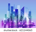 abstract modern night city...   Shutterstock . vector #621144065