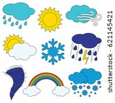 different weathers elements set ... | Shutterstock .eps vector #621145421