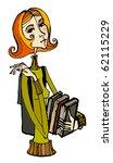 illustrated cute little girl... | Shutterstock . vector #62115229