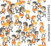 seamless pattern in flat style  ... | Shutterstock .eps vector #621154931