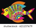 indian folk painting  madhubani ... | Shutterstock .eps vector #621157679