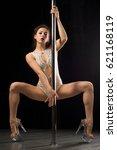 beautiful slim girl with pylon....   Shutterstock . vector #621168119