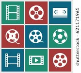 filmstrip icons set. set of 9... | Shutterstock .eps vector #621171965
