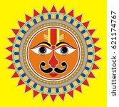 indian folk painting  madhubani ... | Shutterstock .eps vector #621174767