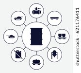 tank icons set. set of 9 tank... | Shutterstock .eps vector #621176411