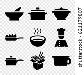 soup icons set. set of 9 soup... | Shutterstock .eps vector #621179807