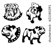 vector set of black bulldogs... | Shutterstock .eps vector #621181091