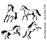 vector set of black horses and