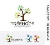 tree hope  vector logo template | Shutterstock .eps vector #621184991