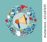 digital marketing megaphone... | Shutterstock .eps vector #621187655