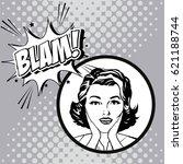 woman comic pop art expression   Shutterstock .eps vector #621188744